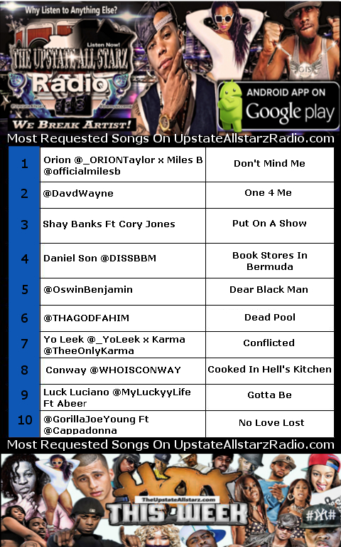 Upstate Allstarz Music chart week of 5-28-17